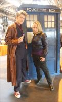 TARDIS, The Doctor and Rose by angelofmusicuk