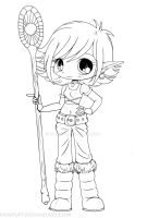 Lana Snow Elf Chibi Lineart by YamPuff