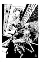 Dardevil vs Azrael Inks by devgear