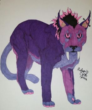 A saber toothed purple Lion by seranity101