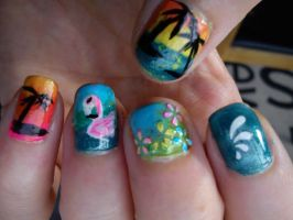 Tropical Beach Nail Art by EnelyaSaralonde