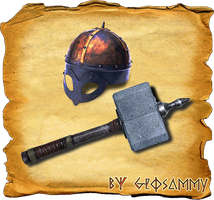 Viking Helmet and Stone Hammer by Geosammy