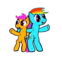 Scootaloo and Rainbow Dash. by Red-M-17