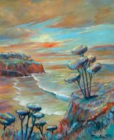 Sunset Seascape Oil Paint by Boias