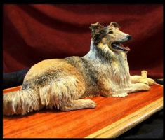 Collie Sculpture at age 13 by Wood-Splitter-Lee