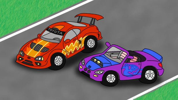 Two Modified Cars by napalmhonour
