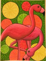 Citrus Flamingos by Lady-KL
