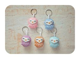 Minis Set 8 -  Happy Owls (ONLY 2 LEFT) by ShadowedPorcelain