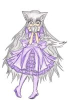 Anime Wolf girl in a dress by xGaarafanGirlx