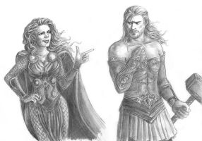 Amora and Thor - clothes swap by wayleri