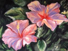Pink hibiscus painting by Azupaula