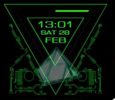 Green Line Animated Clock 3-1-2 by xordes