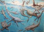 Animals of the Kansas Cretaceous sea by Xiphactinus