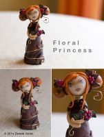 Floral Princess. A kokeshi inspired fimo doll. by ZanetaGc