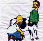 Homer milikng Ned by The-not-Mario-guy