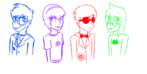 Homestuck Kids Sketches by StaticColour