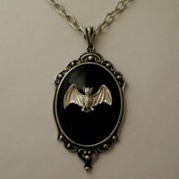 Silver BAT Cabochon Necklace by Horribell-Originals