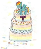 Rainbow Dash Cake by Shallowmoonlight