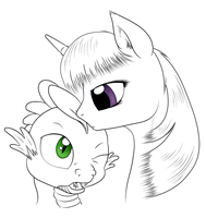 Sketch : Twilight Sparkle et Spike by Mekamaned