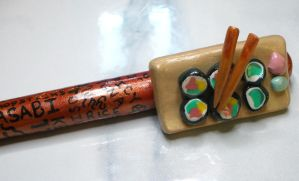 I Love Sushi - polymer clay pen by Brisbykins