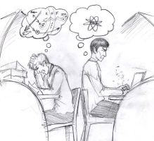 Kirk and Spock studying by infiniteviking