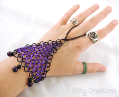Purple And Black Chainmaille Hand Flower by merigreenleaf