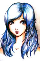 blue hair by Mikki7755