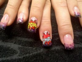 Comic Action Print - Nail Art by DignifiedDoll