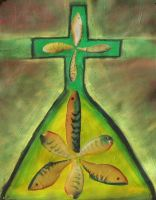 Green and Yellow Lures, Pyramid, and Cross by RobLock