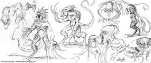 Creature Design: Sketches pg 3 by AustenMengler