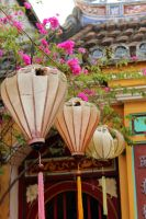 lanterns lining temple entrance by gypsyskyphotography