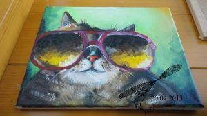 Oil Speedpaint : Hipster Cat by BoMuffin