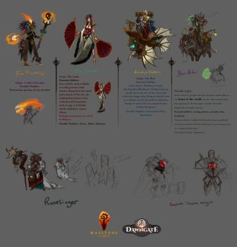 Character pitch sketches for Dawngate by UlaFish