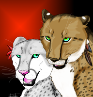 Khari and Ajali Art Trade by Wolfchick36
