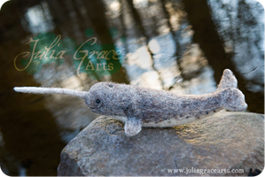 Narwhal - Wool Sculpture by JuliaGraceArts