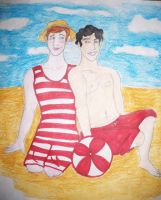 Glee at the beach: Klaine by padfootlestrange
