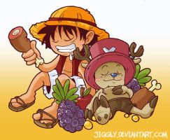 Luffy and Chopper by jiggly