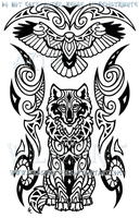 Wise Wolf And Hawk Maori Design by WildSpiritWolf