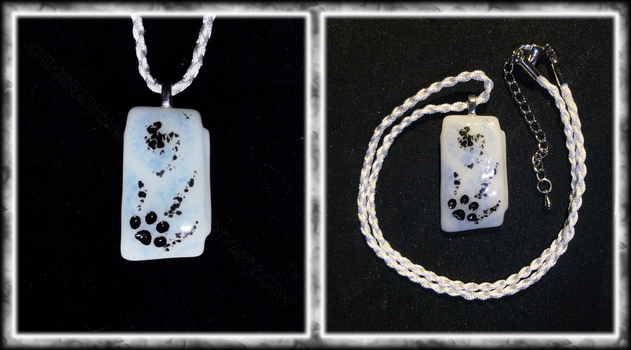 Cat Paw Pendant - Fused Glass in Black by ChimeraDragonfang