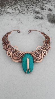 Wire wrapped statement necklace with turquoise by TangledWorld