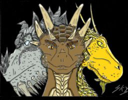 Paarthurnax, Draco and Glaedr by SkyWynd-Earth