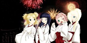 Fireworks - Naruto's Girls- by Lei-Yin