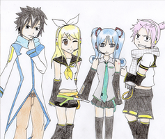 Fairy Tail Cosplaying Vocaloid: Colored by SabakuNoChie