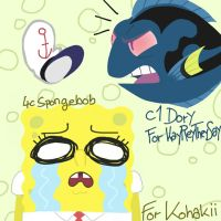 Spongebob/Dory (50 watcher special) by HirobArt