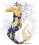Blue and White Mermaid by Curly-Qs
