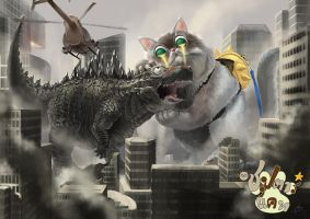 Godzilla vs Big Cat by LENGARTISTRY