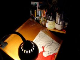 Den Drawing Desk in Darkness 1 by mertonparrish