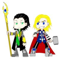 Chibi Loki and Thor by veronica-the-fox