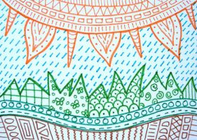Colorful sun zentangle ACEO by PeachPodHandmade