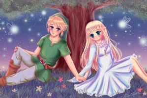 Link and Zelda by Nawal